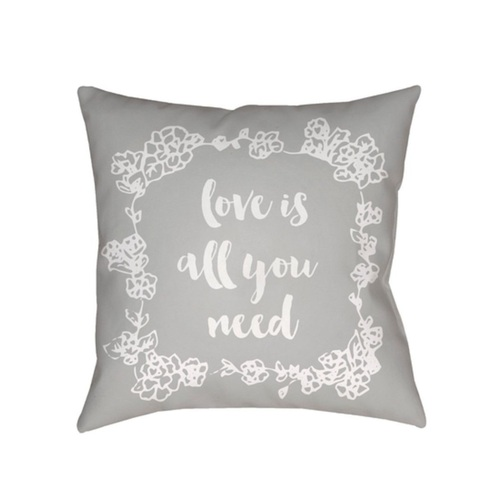 "18"" Gray and White ""Love All You Need"" Printed Design Throw Pillow Cover with Knife Edge - IMAGE 1"