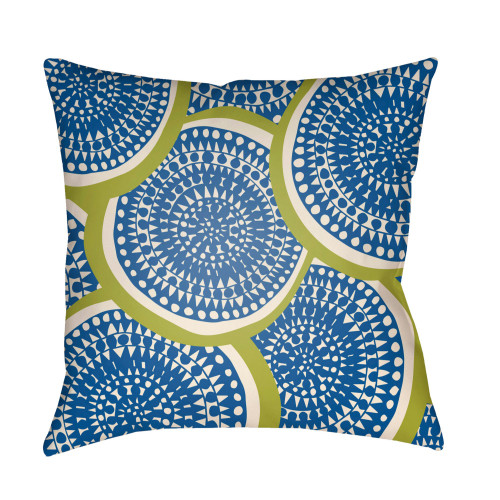 """26"""" Blue and Green Circular Aboriginal Patterned Square Throw Pillow Cover - IMAGE 1"""
