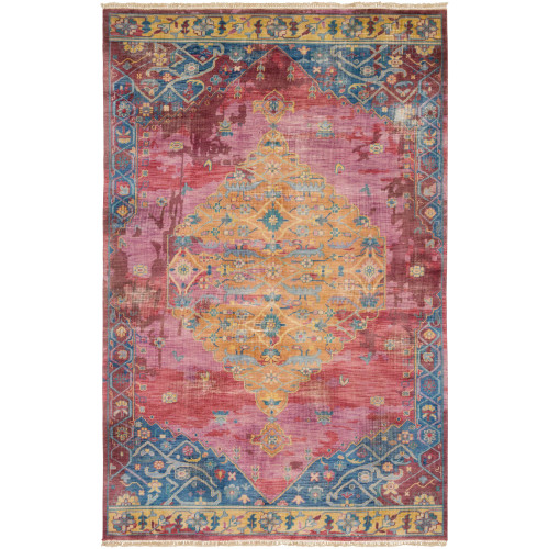 2' x 3' Oriental Patterned Navy Blue and Red Hand Knotted Rectangular Area Throw Rug - IMAGE 1