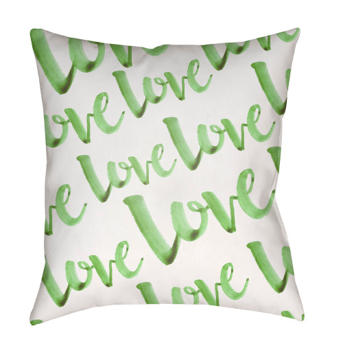 """18"""" Green"""" Love"""" Printed Design White Square Woven Throw Pillow Cover with Knife Edge - IMAGE 1"""