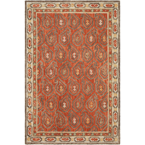 8' x 10' Brown and Beige Geometric Patterned Rectangular Hand Tufted Area Rug - IMAGE 1
