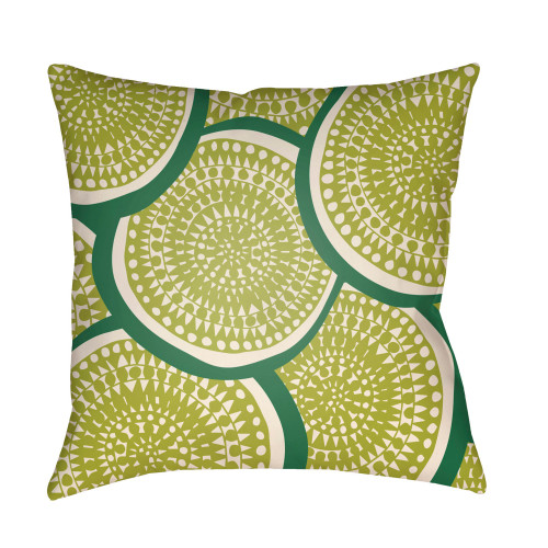 """26"""" Lime Green Circular Aboriginal Patterned Square Throw Pillow Cover - IMAGE 1"""