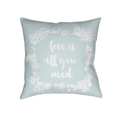 """18"""" Sky Blue and White """"Love All You Need"""" Printed Design Throw Pillow Cover with Knife Edge - IMAGE 1"""