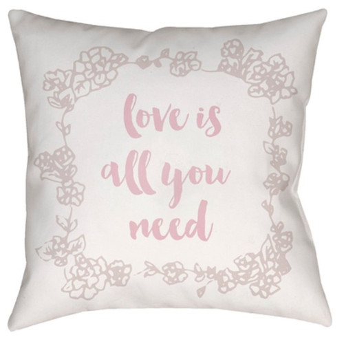 """18"""" White """"Love All You Need"""" Printed Design Throw Pillow Cover with Knife Edge - IMAGE 1"""