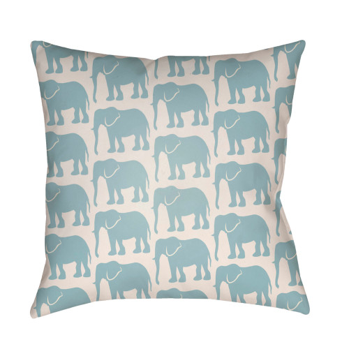 """20"""" Sapphire Blue and White Elephant Printed Square Throw Pillow Cover - IMAGE 1"""