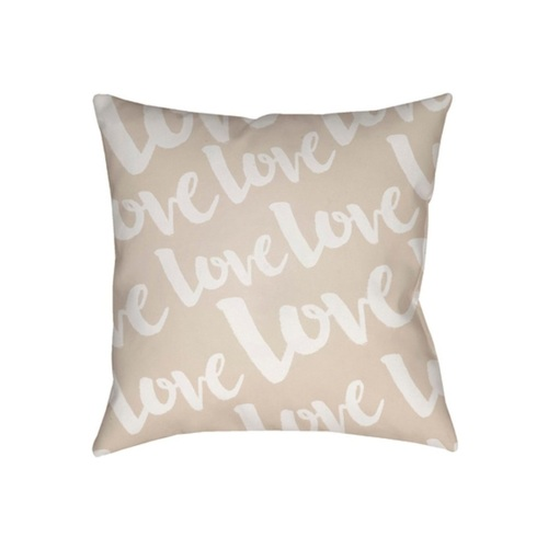 """18"""" White"""" Love"""" Printed Design Brown Square Woven Throw Pillow Cover with Knife Edge - IMAGE 1"""