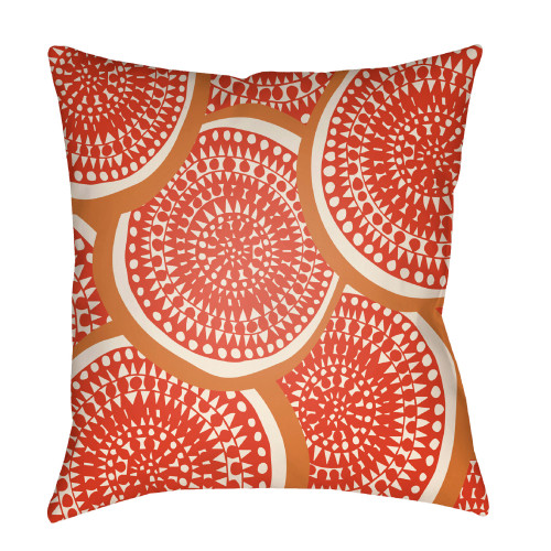 """26"""" Orange and Brown Circular Aboriginal Patterned Square Throw Pillow Cover - IMAGE 1"""