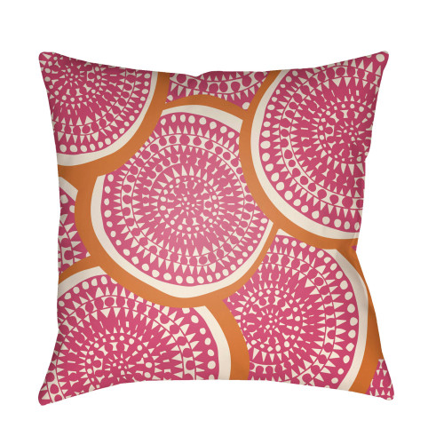 """26"""" Pink and Orange Circular Aboriginal Patterned Square Throw Pillow Cover - IMAGE 1"""