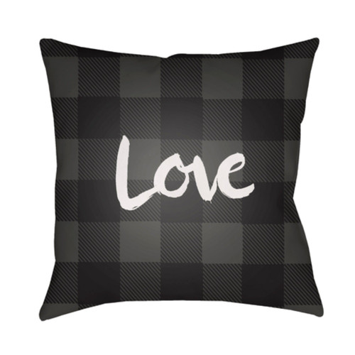 "18"" Black and Gray Checkered Pattern with ""Love"" Printed Design Throw Pillow Cover on Knife Edge - IMAGE 1"