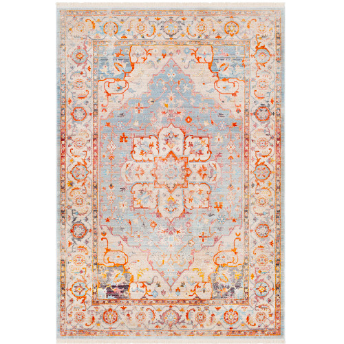"3'11"" x 5'3"" Distressed Classic Oriental Orange and Gray Rectangular Polyester Area Throw Rug - IMAGE 1"