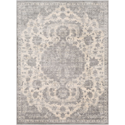 2' x 3' Beige and Gray Distressed Finish Area Throw Rug - IMAGE 1