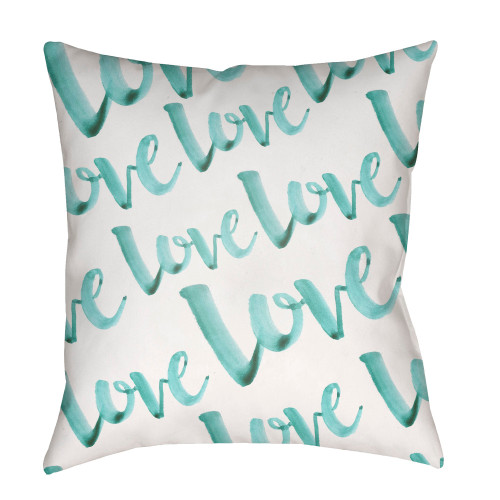 """18"""" Aqua"""" Love"""" Printed Design White Square Woven Throw Pillow Cover with Knife Edge - IMAGE 1"""