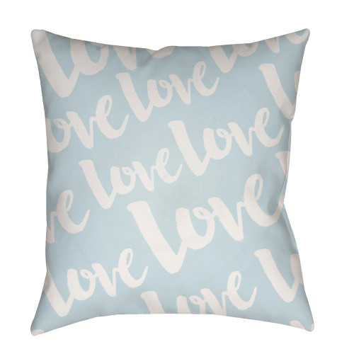 """18"""" White"""" Love"""" Printed Design Light Blue Square Woven Throw Pillow Cover with Knife Edge - IMAGE 1"""