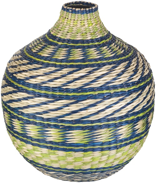 """12"""" Blue and Green Decorative Table Accent Bamboo Vase - IMAGE 1"""