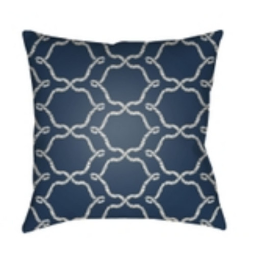 "26"" Navy Blue and White Ogee Pattern Square Throw Pillow Cover - IMAGE 1"
