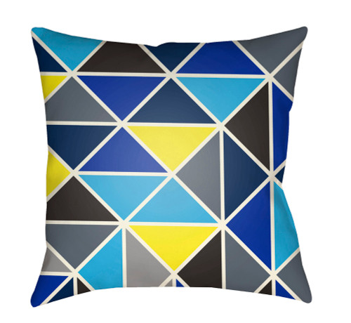 "22"" Sky Blue and Yellow Geometric Square Throw Pillow Cover - IMAGE 1"