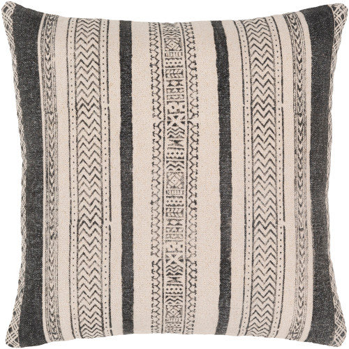 """20"""" Black and Beige Polynesian Patterned Square Woven Throw Pillow Cover with Knife Edge - IMAGE 1"""