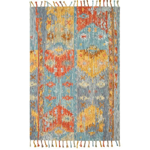 8' x 10' Gray and Yellow Abstract Design Rectangular Hand Tufted Area Rug - IMAGE 1