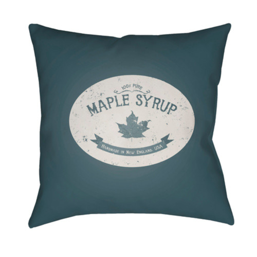 "18"" Blue Printed Maple Themed Design Throw Pillow Cover with Knife Edge - IMAGE 1"