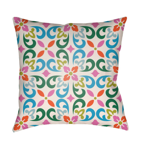 """20"""" White and Green Geometric Square Throw Pillow Cover with Knife Edge - IMAGE 1"""