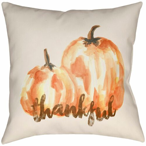 """20"""" White and Orange """"thankful"""" Pumpkin Printed Square Throw Pillow Cover - IMAGE 1"""