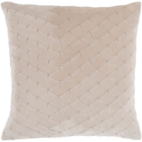 "20"" Beige Square Throw Pillow Cover with Knife Edge - IMAGE 1"
