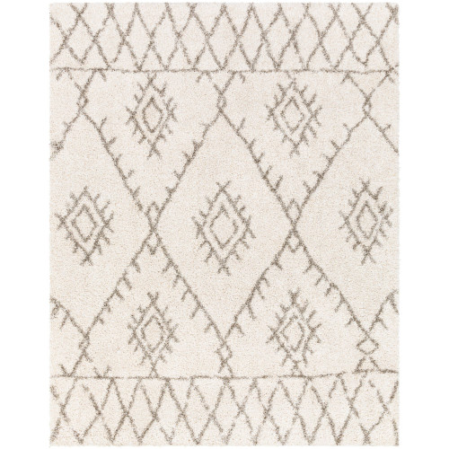 9.25' x 12.25' Geometric Ivory and Brown Rectangular Area Throw Rug - IMAGE 1