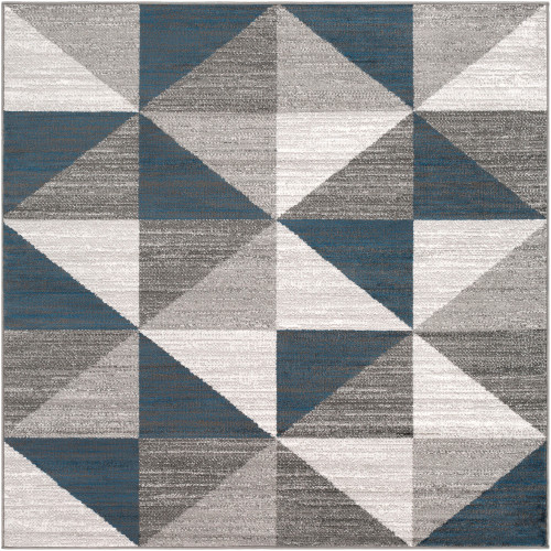 5.25' Geometric Patterned Gray and Blue Square Area Throw Rug - IMAGE 1