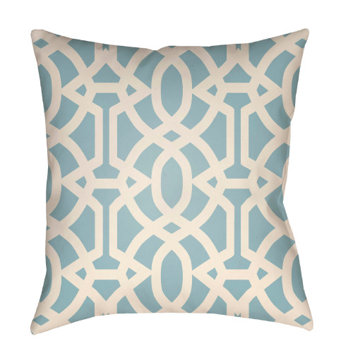 """26"""" Ivory and Stone Blue Trellis Patterned Square Throw Pillow Cover - IMAGE 1"""