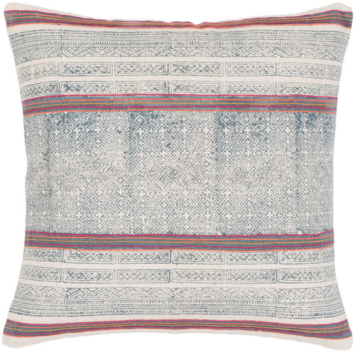 """20"""" Pink and Navy Blue Striped Square Throw Pillow - IMAGE 1"""