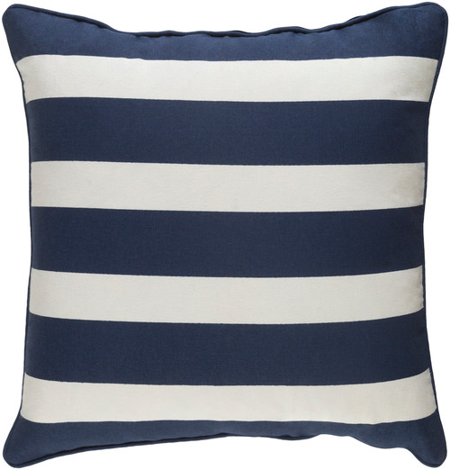 """18"""" Navy Blue and White Striped Square Throw Pillow - Poly Filled - IMAGE 1"""
