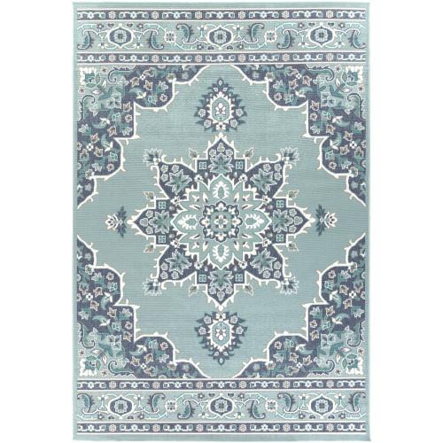 """7'6"""" x 10'9"""" Mandala Patterned Aqua Blue and White Rectangular Area Rug - IMAGE 1"""