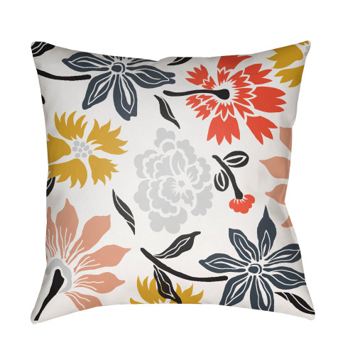 """22"""" Bright Red and White Floral Square Throw Pillow Cover - IMAGE 1"""
