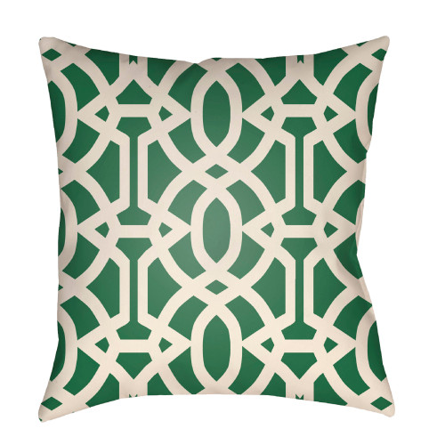 """26"""" Green and Ivory Trellis Patterned Square Throw Pillow Cover - IMAGE 1"""