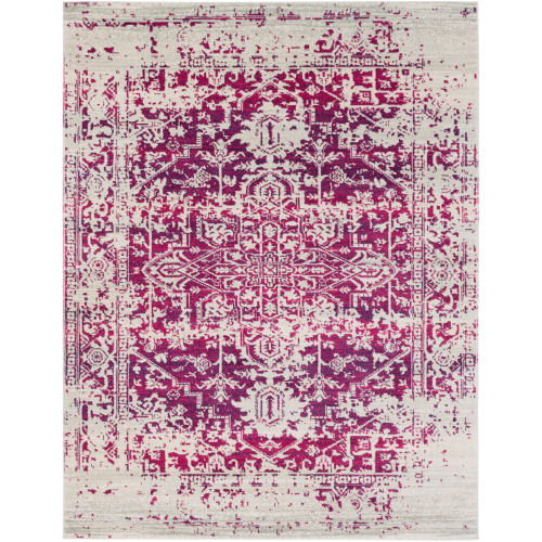 """9'3"""" x 12'6"""" Gray and Blue Distressed Medallion Design Rectangular Machine Woven Area Rug - IMAGE 1"""