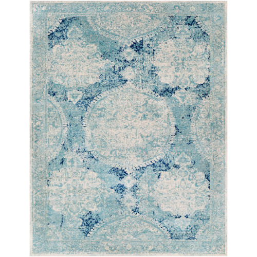 7.8' x 10.25' Distressed Finish Teal Green and Ivory Rectangular Area Throw Rug - IMAGE 1