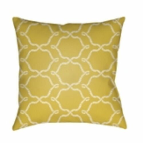 """26"""" Canary Yellow and White Digitally Printed Square Throw Pillow Cover - IMAGE 1"""