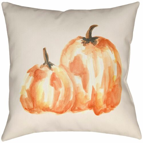"""20"""" White and Orange Pumpkin Printed Square Throw Pillow Cover - IMAGE 1"""