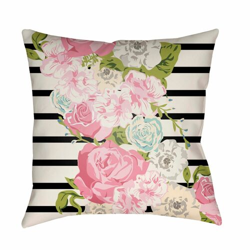 "20"" Pink and Ivory Floral Printed Square Throw Pillow Cover - IMAGE 1"