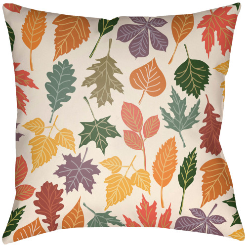 """18"""" Beige and Burgundy Red Leaf Printed Throw Pillow Cover - IMAGE 1"""