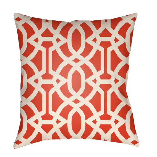 """26"""" White and Fire Orange Trellis Patterned Square Throw Pillow Cover - IMAGE 1"""