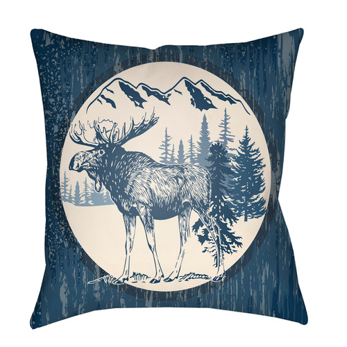 """18"""" Navy Blue and Beige with a Digital Printed Deer Throw Pillow Cover - IMAGE 1"""