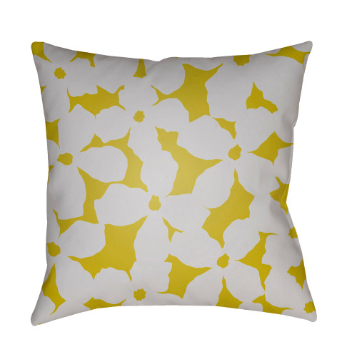 """22"""" Yellow and White Digitally Printed Square Throw Pillow Cover - IMAGE 1"""
