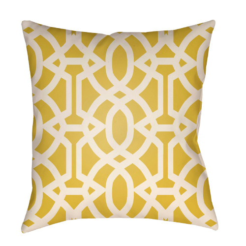 "26"" Yellow and White Trellis Patterned Square Throw Pillow Cover - IMAGE 1"