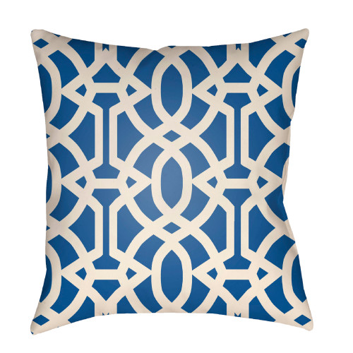"""26"""" Blue and Ivory Trellis Patterned Square Throw Pillow Cover - IMAGE 1"""