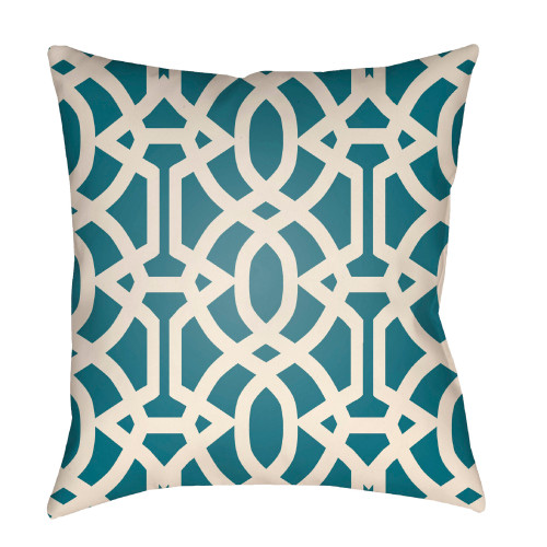 """26"""" Teal Blue and Ivory Trellis Patterned Square Throw Pillow Cover - IMAGE 1"""
