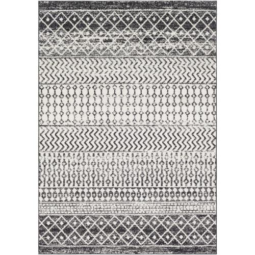6.5' x 9' Bohemian Style White and Black Rectangular Area Throw Rug - IMAGE 1