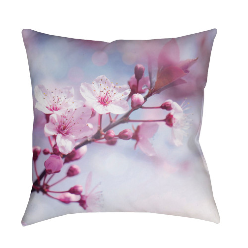 """22"""" Purple and Pale Blue Floral Printed Square Throw Pillow Cover - IMAGE 1"""