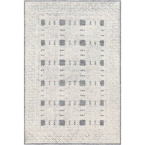 8' x 10' Geometric White and Gray Rectangular Area Throw Rug - IMAGE 1