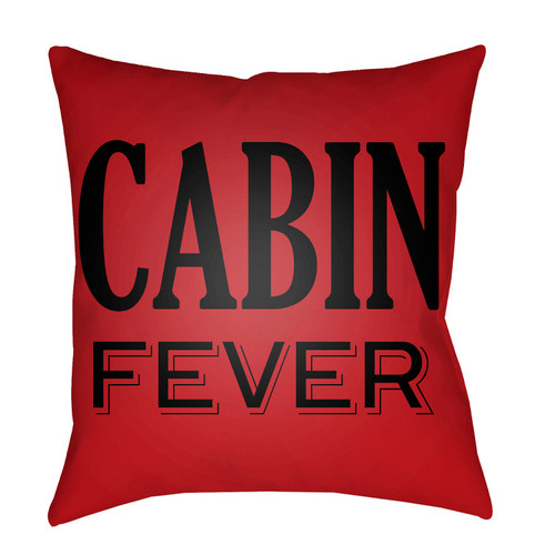 """18"""" Red and Black with Printed """"Cabin Fever"""" Throw Pillow Cover - IMAGE 1"""